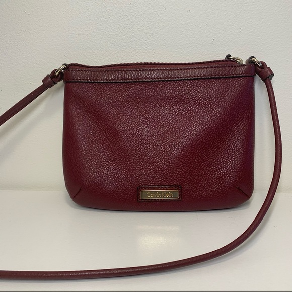 Calvin Klein Wine Colored Soft Leather Crossbody
